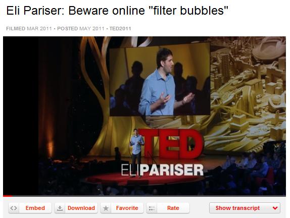 TED talk with Eli Pariser