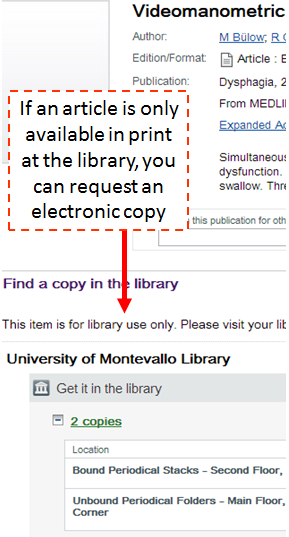 If an article is only available in print at the library, you can request an electronic copy