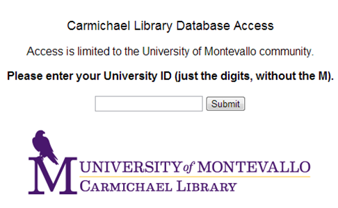 screenshot of off-campus login