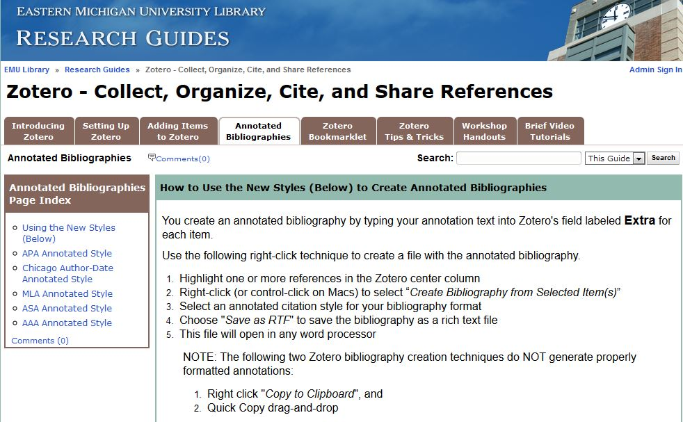 EMU Library Annotated Bibliography