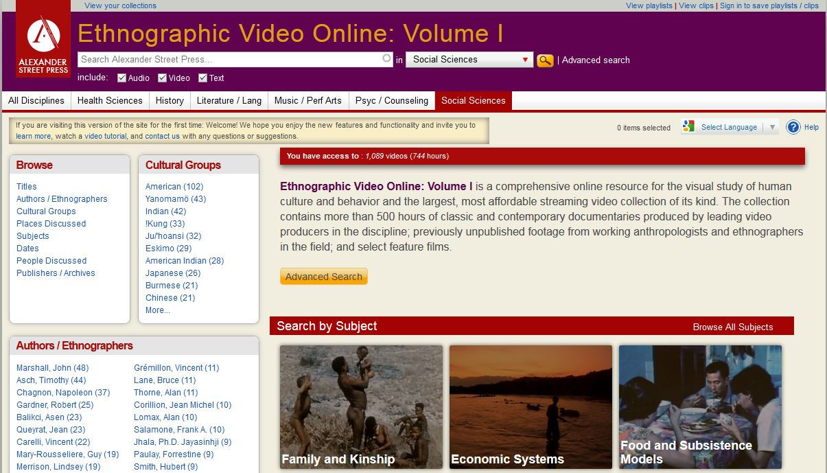 Ethnographic Videos Online