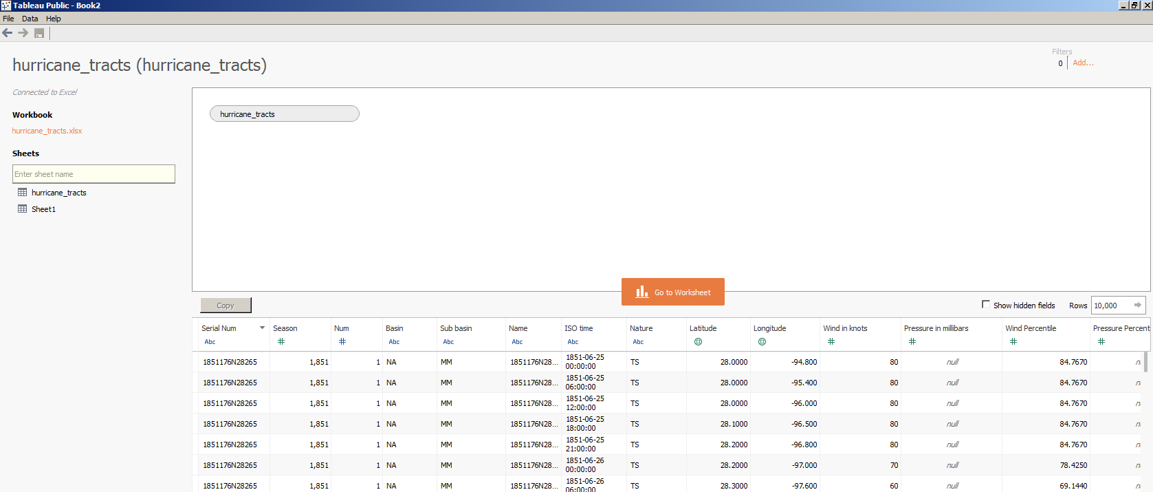 Screenshot of data import interface. Interface lists  the available interfaces on the left side.  In this example one data set has been selected and Tableau shows a preview of the data set along the bottom.