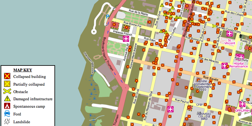 GIS in action: volunteers used GIS devices to create this map of hazards after the 2010 earthquake in Haiti