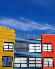 primary colored houses
