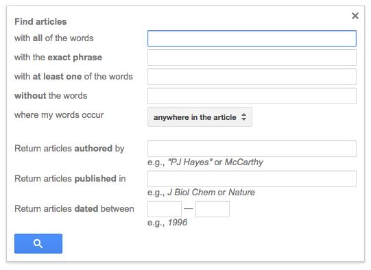 Google Scholar Advanced Search