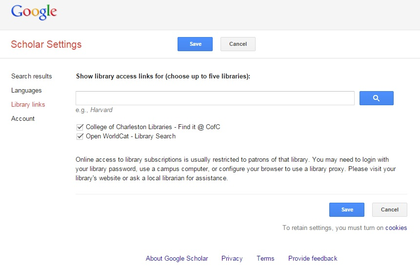 Google Scholar Settings - Library Links