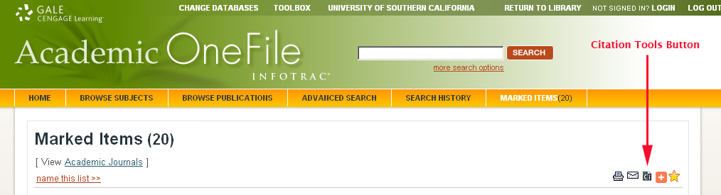 Academic OneFile Citation Tools