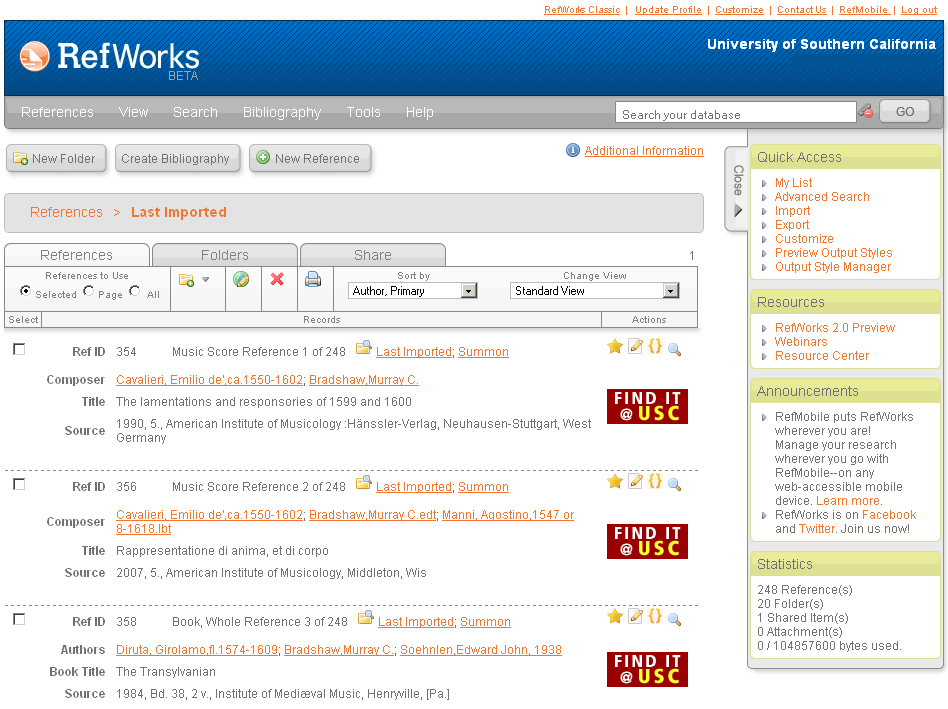 RefWorks 2.0 interface