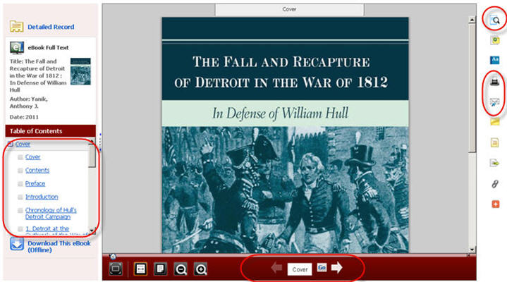 eBook reader with table of contents link, search within printing and emailing buttons