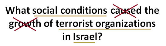 topic sentence with caused and growth crossed out, social conditions terrorist organizations and Israel underlined
