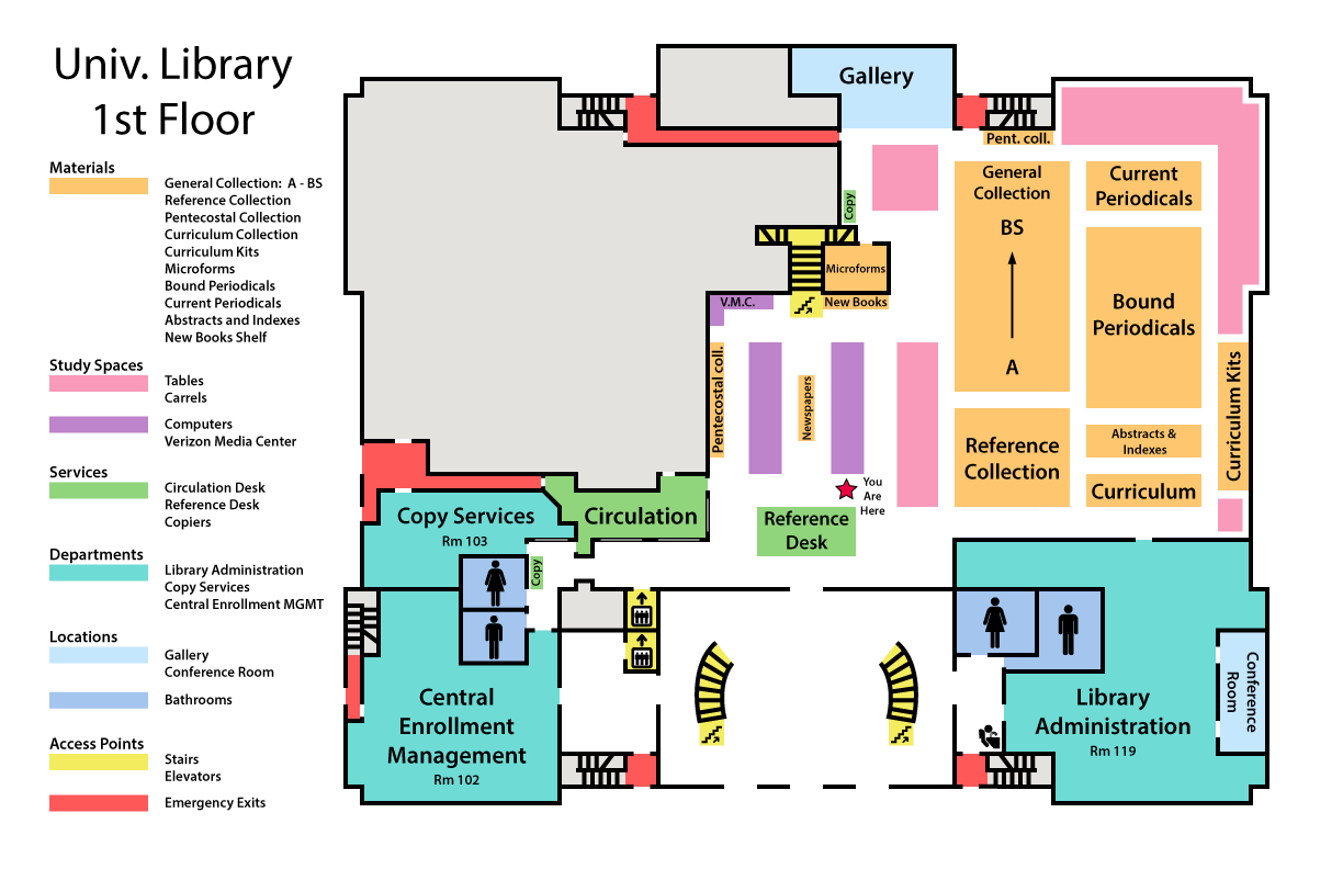 map of library first floor