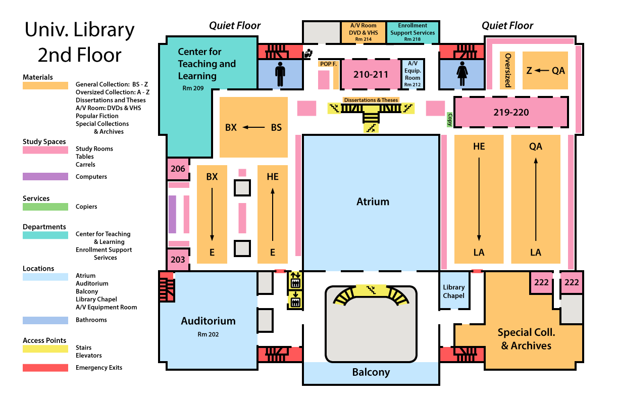 map of library second floor