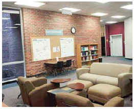 Photo of citation area on the 1st floor of the John Vaughan Library.
