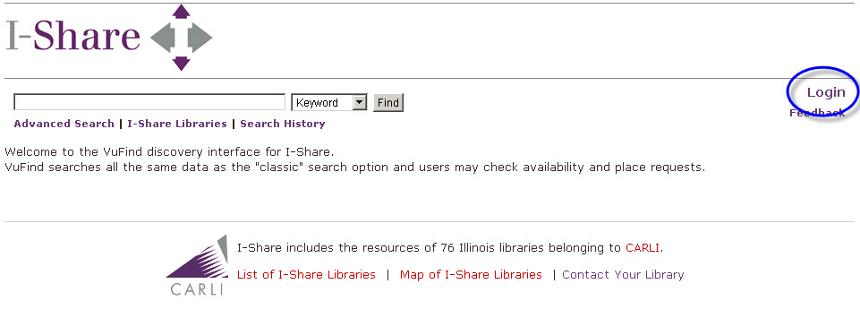 Log in at top right of the I-Share catalog home page.