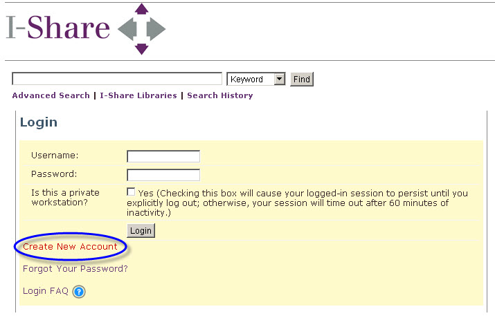 Create new account under the username and password boxes