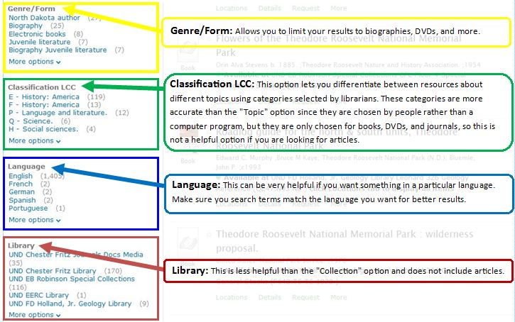 h4 Genre/Form, Classification LCC, Language, and Library: Genre/Form allows you to limit your results to biographies, DVDs, and more. Classification LCC lets you use topics chosen by librarians for physical materials.  These topics are more accurate since they are chosen by people.  This classification does not include journal articles.  Language allows you to pick materials written in different languages.  Use search terms in that language for best results.  Library is less helpful than the Collection option and does not include journal articles.