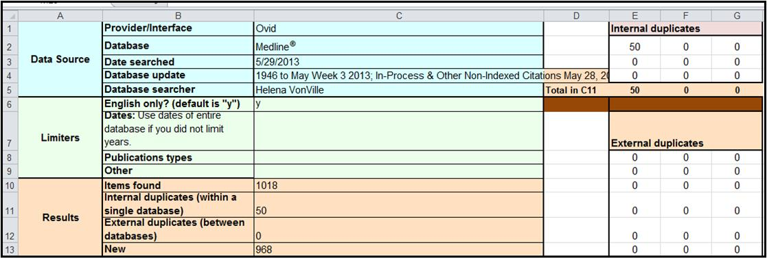 Excel exact internal duplicates deleted