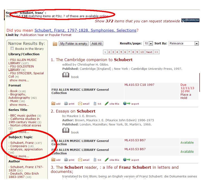 schubert catalog search step 2