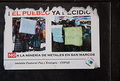 Image of a poster against mining in Guatemala