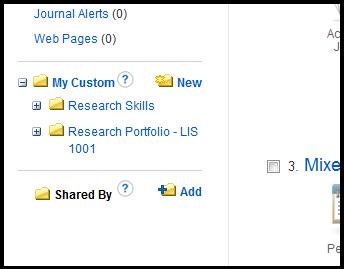 Custom folders in EBSCOhost's Login