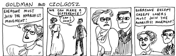 cartoon of emma goldman and Leon Czolgosz