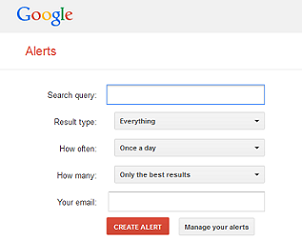 screenshot of Google alert form