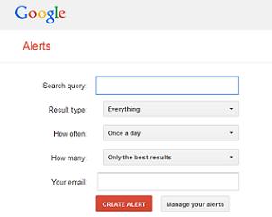 screenshot of Google alert form
