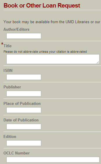 Screenshot of book request form