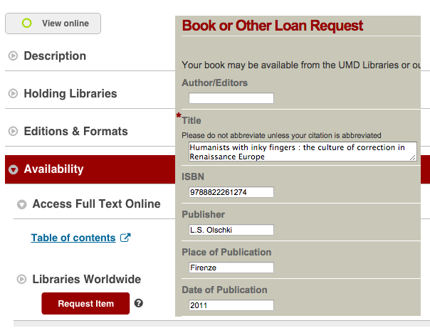 Screenshot of Request Item button and Loan Request Form