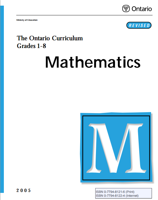 Ontario Math Curriculum, Grades 1 to 8
