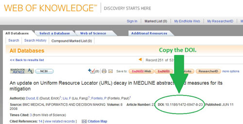 A screenshot of a DOI in Web of Knowledge