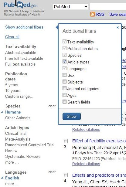 Limit results page in PubMed
