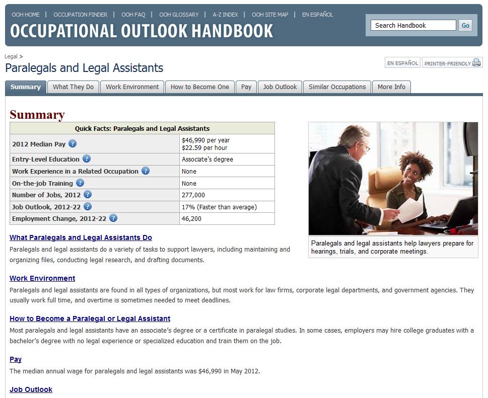 Occupational Outlook Handbook Website Screenshot