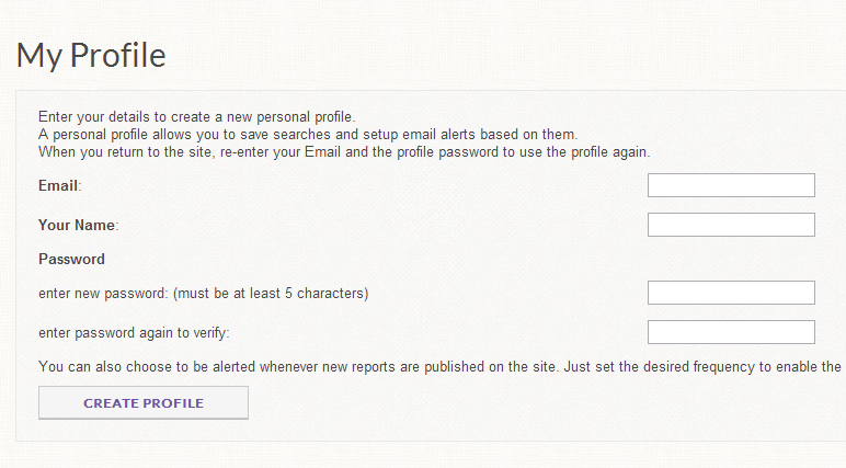 On next page, create your profile.  When you are done, click 'create profile' and you will log into Mintel.