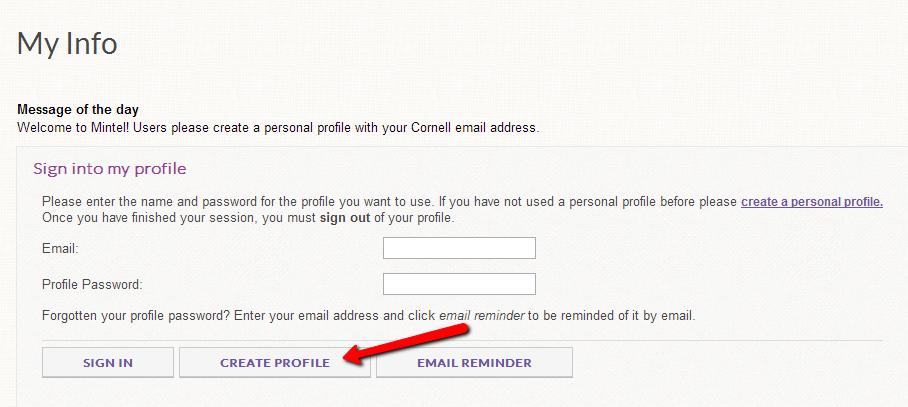 On main Mintel page, click 'create profile'