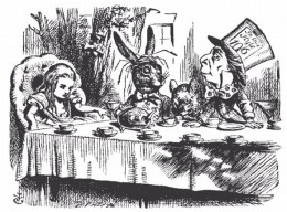 John Tenniel illustration of the Mad Hatter tea party