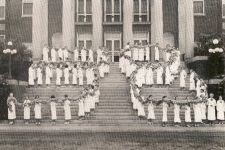 Picture of Class of '38 on Johnson Hall Stairs spelling out the number 38