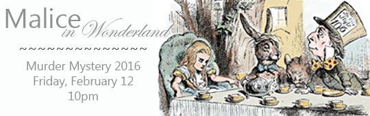 Malice in wonderland Murder Mystery ad