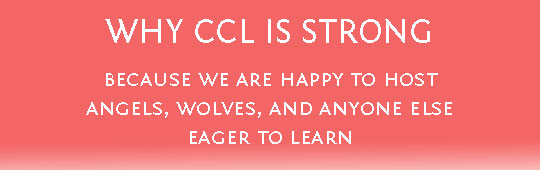 Ad for CCL Strong ideas - angels and wolves eager to learn