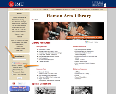 Hamon home page with catalog highlighted