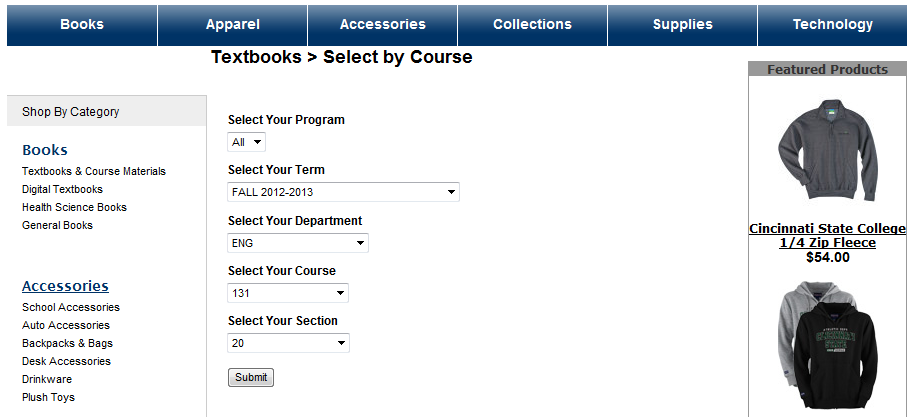 Selecting a course on the bookstore website