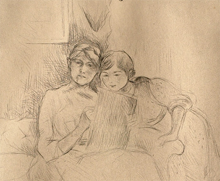 Pencil drawing of a woman drawing  with a girl observing.