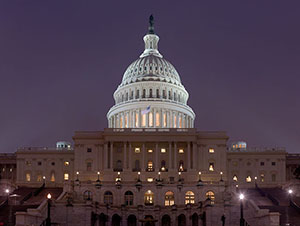 Picture of the US Capital Building at Nnght