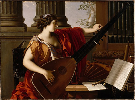 Allegory of Music. A woman in a red garment plays a long-necked lute.  A songbird sits on the back of her chair
