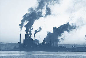 Photo of industrial smoke stacks