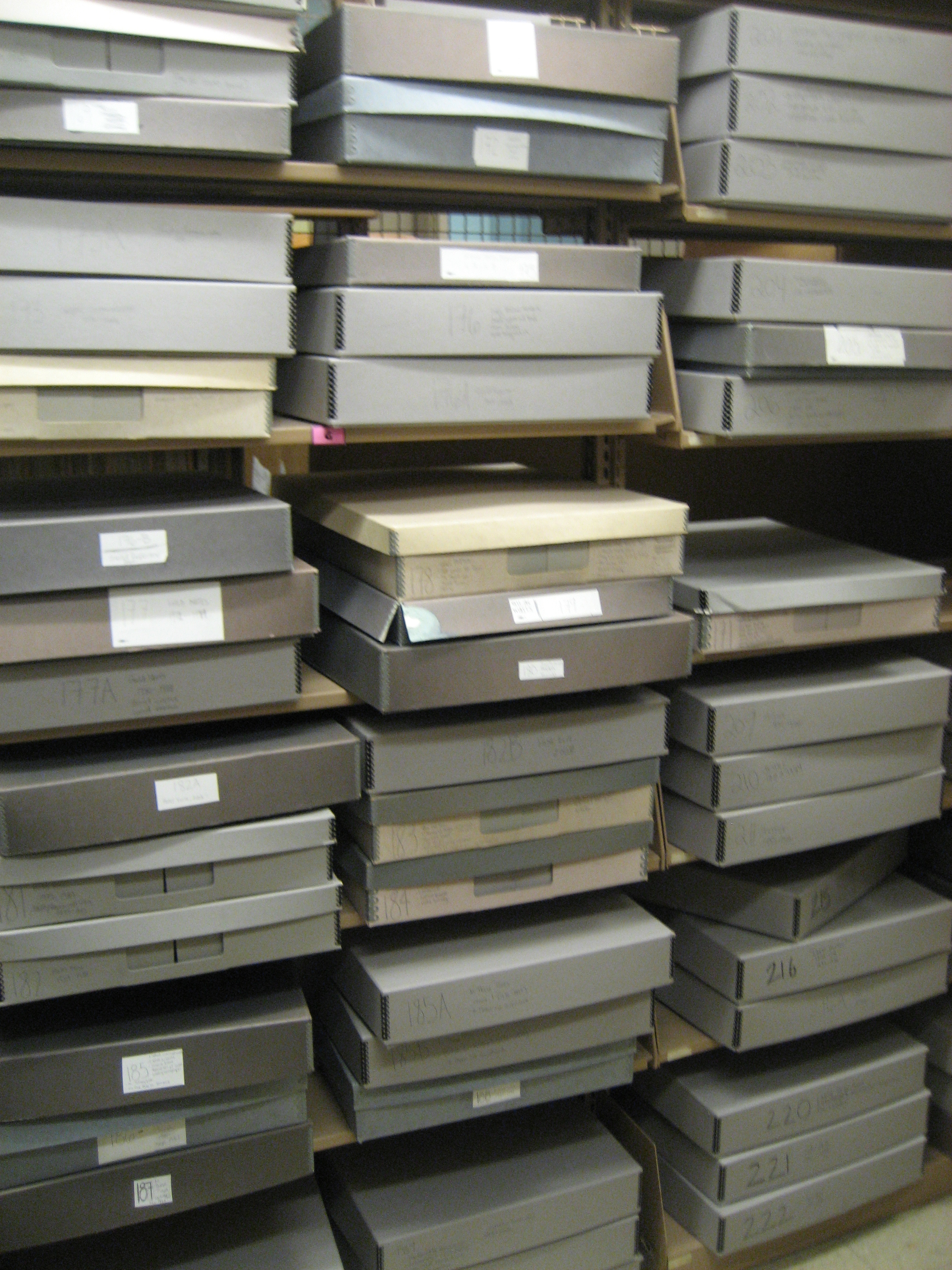 Flat archival boxes for newspapers on a range of shelves