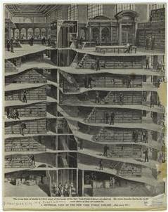Black and white drawing of a cross section of the New York Public Library