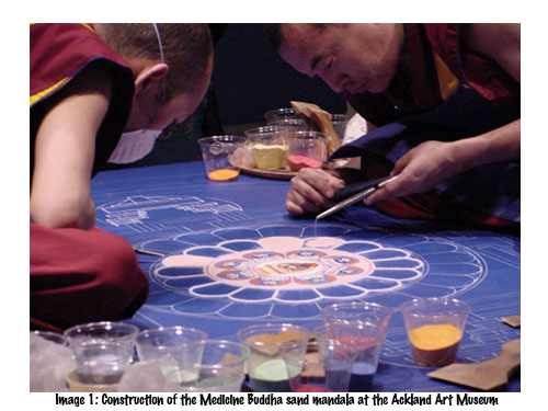 Construction of the Medicine Buddha sand mandala at the Ackland Art Museum