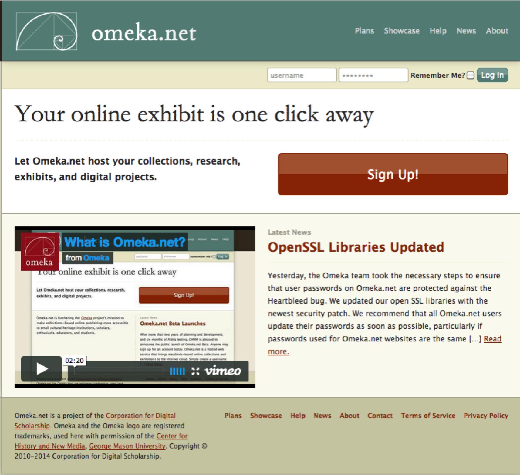 Screenshot of Omeka.net website