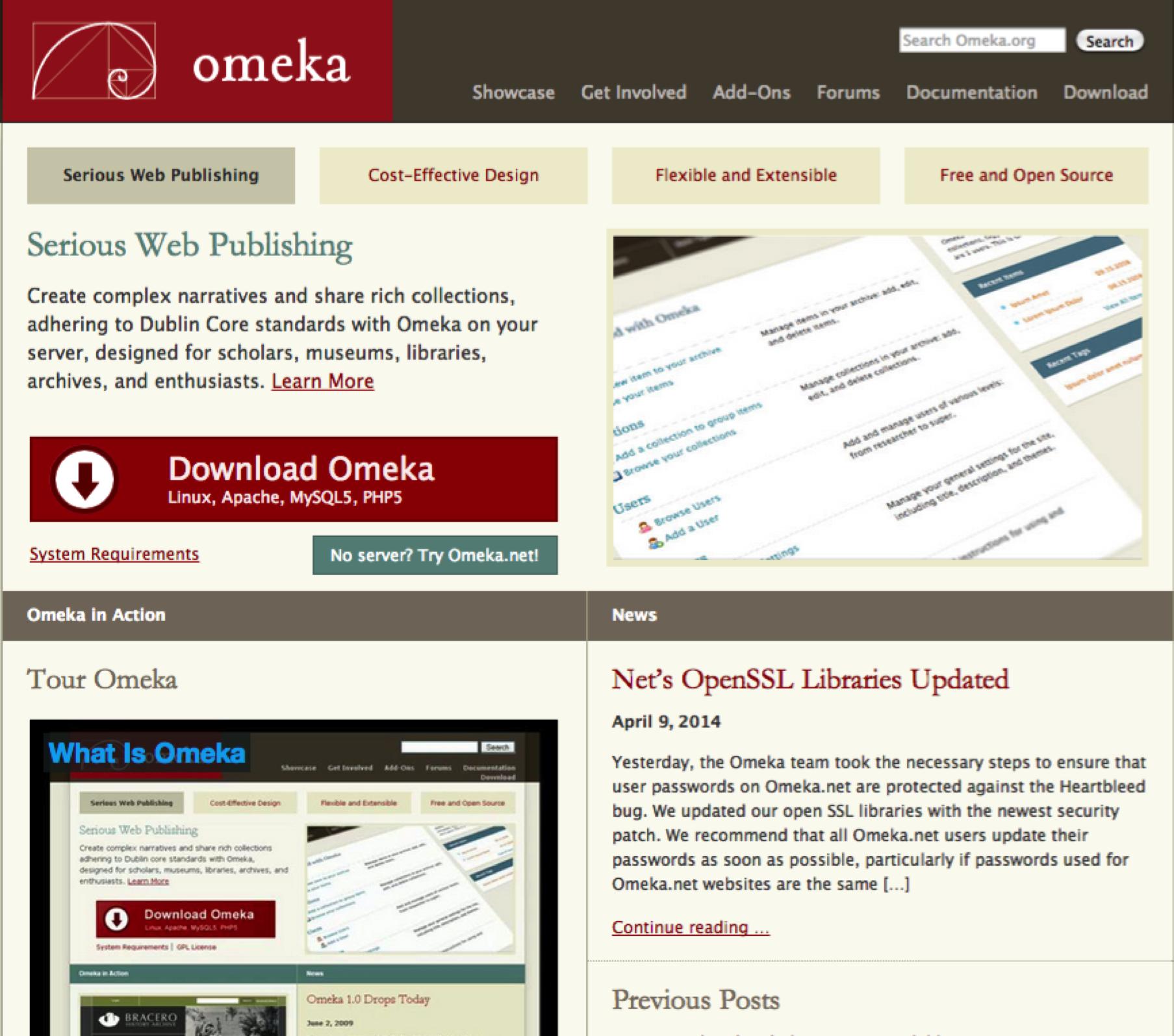 Screenshot of Omeka.org website